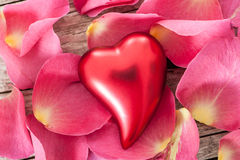 Red heart with roses Royalty Free Stock Photo