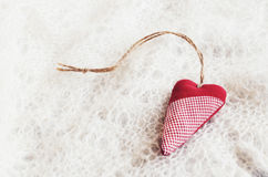 Red heart on Russian downy shawl Royalty Free Stock Images