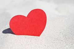 Red heart in the sand Stock Image