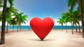 Red heart on the sandy tropical beach Royalty Free Stock Images