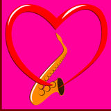 Red heart and Saxophone Royalty Free Stock Images