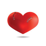 Red Heart with scar,  On White Background, Vector Stock Image