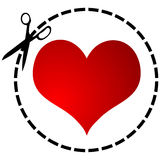 Red heart and scissor Royalty Free Stock Photo