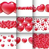 Red Heart Seamless Borders. On White Background Royalty Free Stock Photo