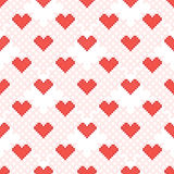 Red Heart seamless pattern. Cross-stitch. Stock Images