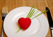 Red heart served on the plate Stock Photo