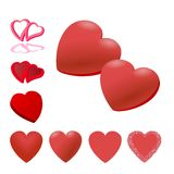 Red heart set for design Stock Photography