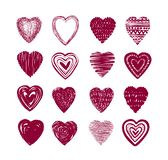 Red heart set of icons. Love, valentine, romance symbol or label. Vector illustration royalty free illustration