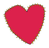 Red Heart Sewing by Thread Royalty Free Stock Image