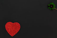 A red heart and a shamrock Royalty Free Stock Photo