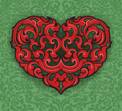 Red heart shape with art pattern Royalty Free Stock Photos