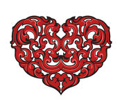 Red heart shape with art pattern Stock Image