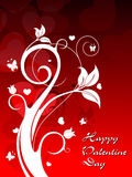 Red heart shape background with elegant floral Royalty Free Stock Photo