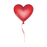 Red heart shape balloon with ribbon Royalty Free Stock Images