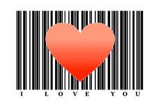 Red heart shape on barcode. Love concept Stock Photo