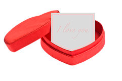 Red heart shape box with card Stock Images