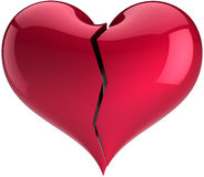Red heart shape broken with crack Stock Photo