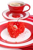 Red in heart shape cake Stock Image