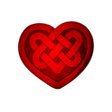 Red heart shape with celtic pattern Stock Photos