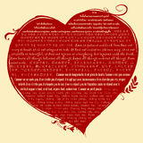 Red heart shape with christian bible verse in 1 Corinthian 13 in many language | Biblical quote about love Stock Photo