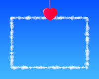Red heart shape clothespin hang cloud letter. Red heart shape clothespin hanging cloud letter in blue sky Royalty Free Stock Photography
