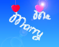 Red heart shape clothespin hanging cloud letter marry me. In blue sky Royalty Free Stock Photo