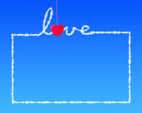 Red heart shape clothespin hanging love letter in blue. Backbround Stock Image