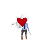 Red heart shape. 3d business man holding a red heart shape, focus on foreground Stock Photos