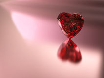 Red heart shape diamond. 3D rendering of red heart shape diamond on pink background Royalty Free Stock Images