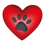 red heart shape with dog footprint icon Stock Image