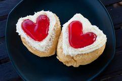 Red heart  shape of  donut. Royalty Free Stock Images
