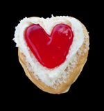 Red heart  shape of  donut. Stock Photos