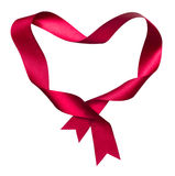 Red heart shape frame from twisted silk ribbon Royalty Free Stock Images