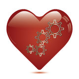 Red heart shape with gears inside . Royalty Free Stock Image