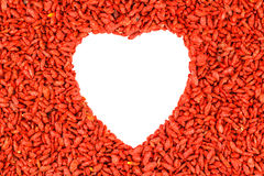 Red heart shape goji berries frame Royalty Free Stock Image