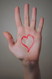 Red Heart Shape on a Hand Stock Photography
