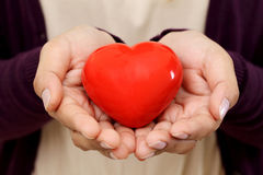 Red heart shape in the hands Royalty Free Stock Photos