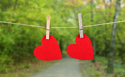 Red heart shape hanging, over the natural background Royalty Free Stock Photos