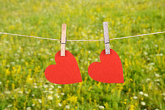 Red heart shape hanging, over the natural background Royalty Free Stock Image