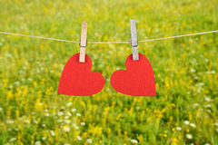 Red heart shape hanging, over the natural background Royalty Free Stock Photography