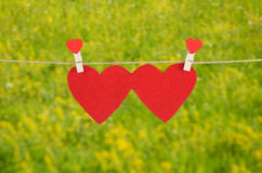 Red heart shape hanging, over the natural background Royalty Free Stock Photo