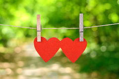 Red heart shape hanging, over the natural background Royalty Free Stock Images