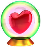Red Heart shape inside crystal globe Royalty Free Stock Photography