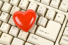 Red Heart Shape and keyboard Stock Image