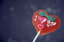 Red heart shape lolly pop Stock Image
