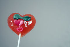 Red heart shape lolly pop Royalty Free Stock Images