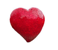 Red heart shape model made from old steel with clipping path Royalty Free Stock Photos