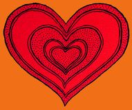 Red heart shape on orange. Artistic illustration of a red heart shape with multiple internal copies and on an orange background stock illustration