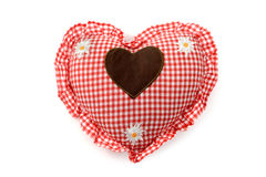 Red heart shape pillow isolated on white background Royalty Free Stock Images