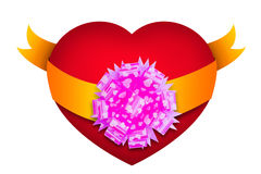 Red heart shape with ribbon Stock Image